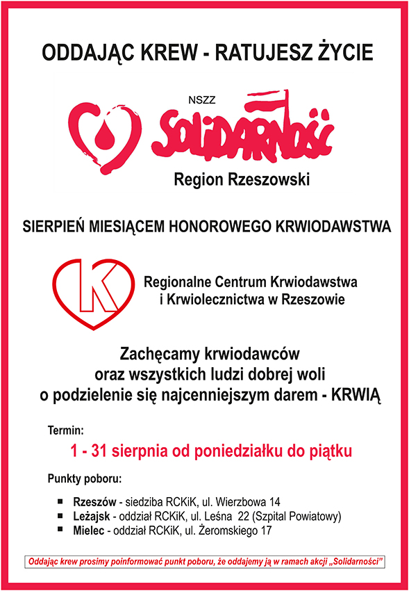 """Sierpień Miesiącem Honorowego Krwiodawstwa NSZZ """"Solidarność"""""""