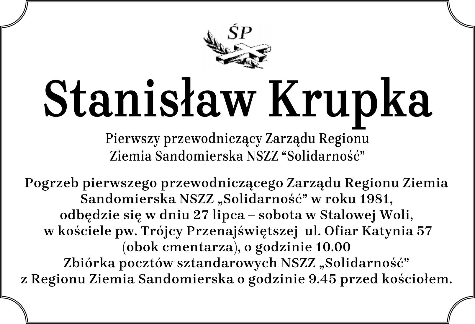 Pogrzeb Stanisława Krupki pierwszego przewodniczacego ZR Ziemia Sandomierska