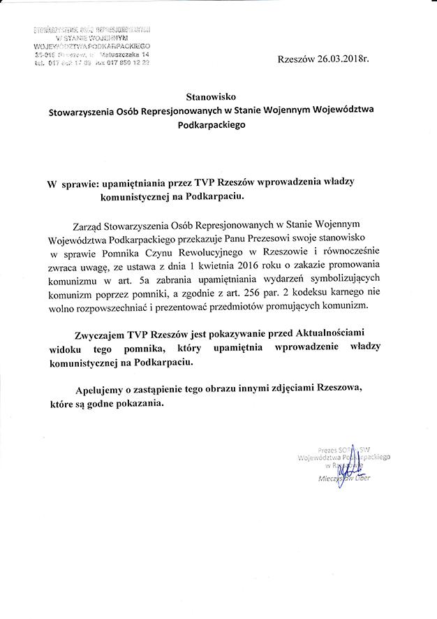 Stanowisko Stowarzyszenia Osób Represjonowanych w Stanie Wojennym z dnia 26.03.2018 r.