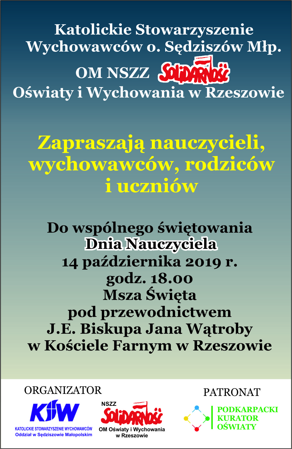 Solidarność nauczycielska zaprasza 14.10.2019 r. na Mszę świętą