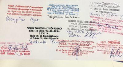 """Stanowisko OZ NSZZ """"Solidarność"""" Instytucji Kultury Województwa Podkarpackiego"""